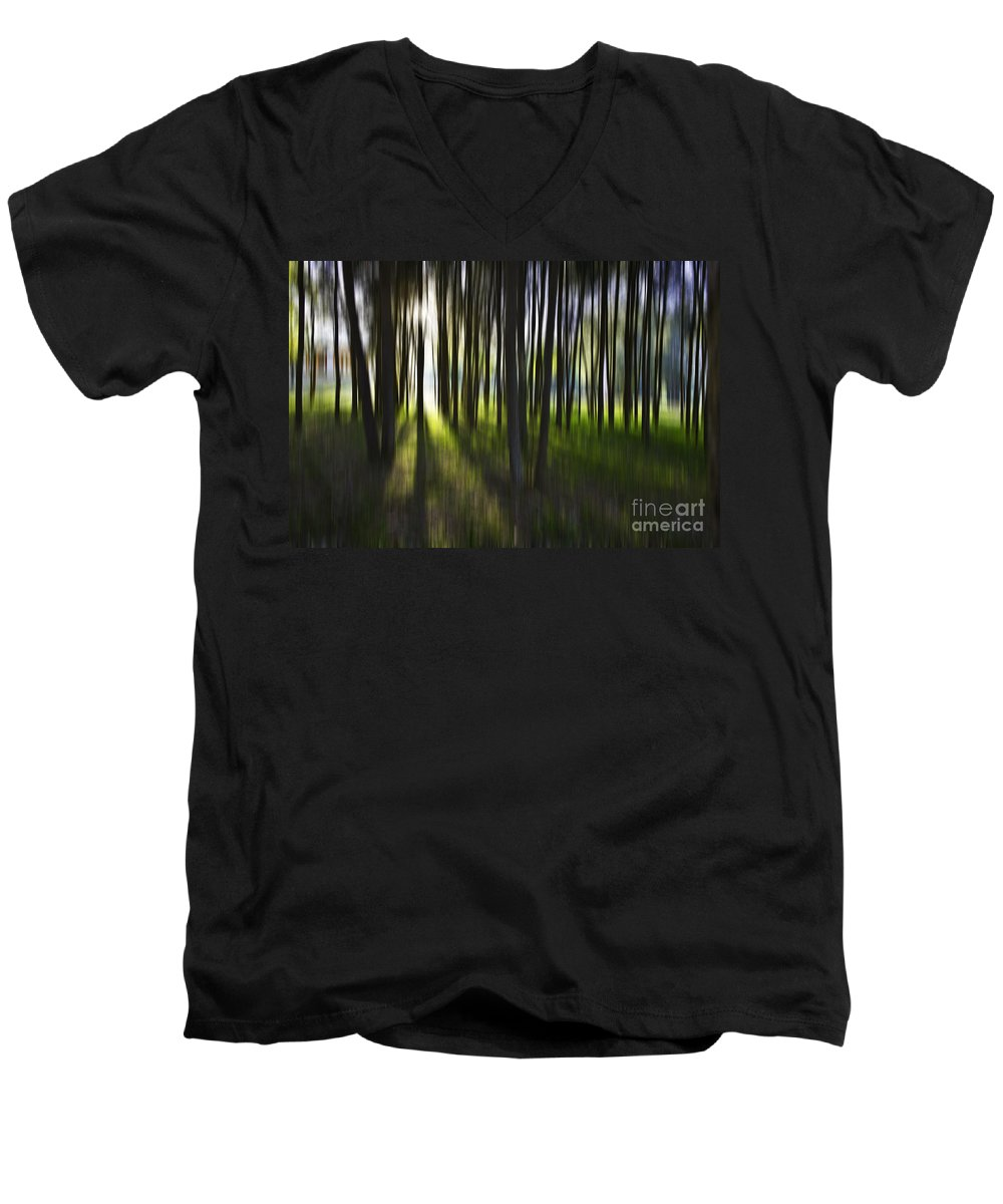 Trees Abstract Tree Lines Forest Wood Men's V-Neck T-Shirt featuring the photograph Tree Abstract by Sheila Smart Fine Art Photography