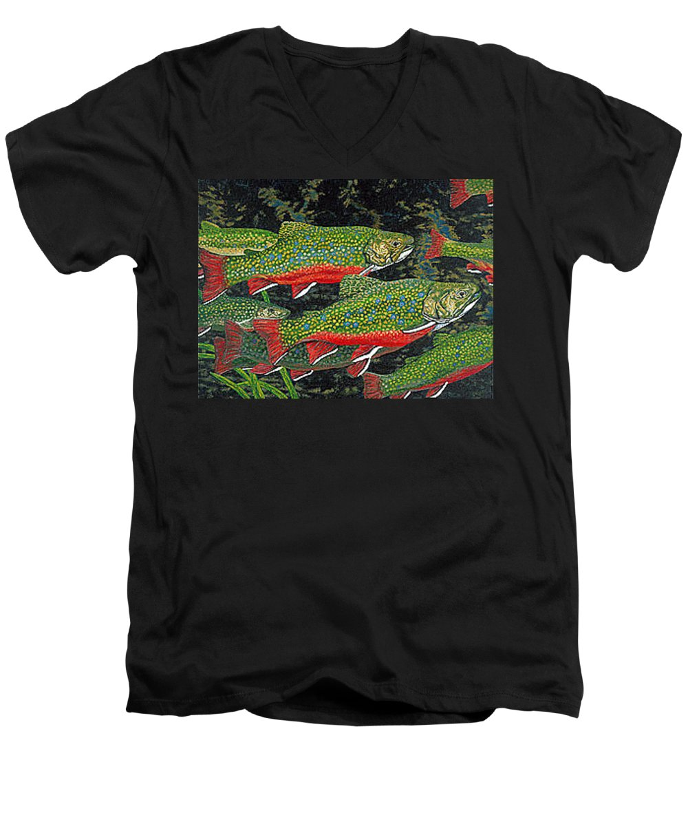Art Men's V-Neck T-Shirt featuring the painting Trout Art Brook Trout Fish Artwork Giclee Wildlife Underwater by Baslee Troutman