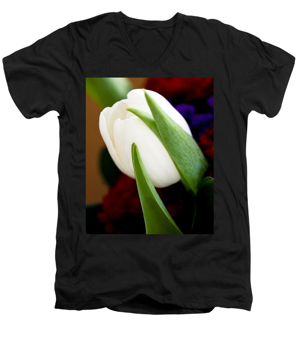 Floral Men's V-Neck T-Shirt featuring the photograph Tulip Arrangement 4 by Marilyn Hunt