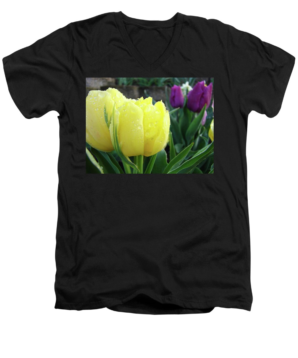 �tulips Artwork� Men's V-Neck T-Shirt featuring the photograph Tulip Flowers Artwork Tulips Art Prints 10 Floral Art Gardens Baslee Troutman by Baslee Troutman