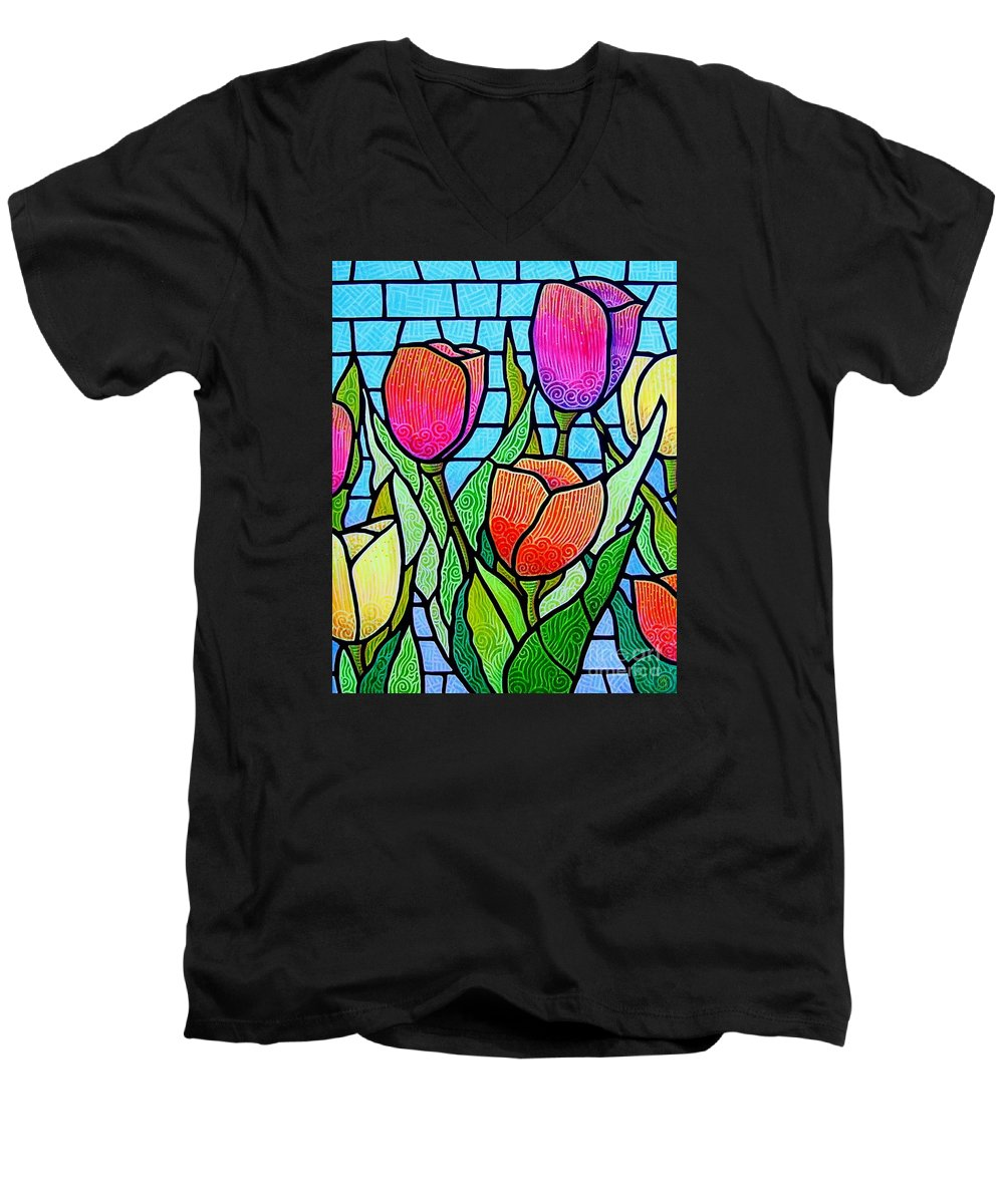 Tulips Men's V-Neck T-Shirt featuring the painting Tulip Garden by Jim Harris
