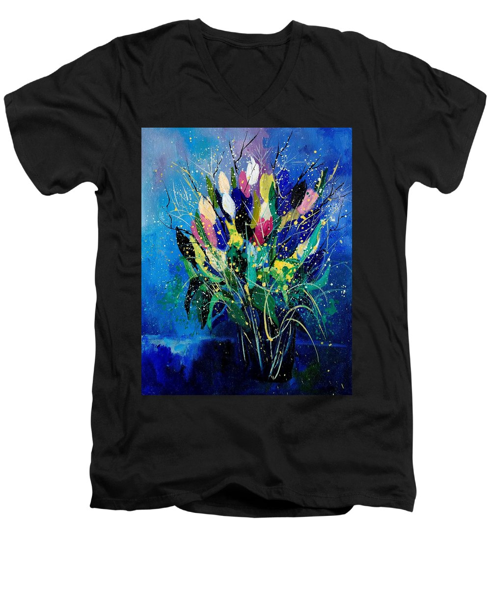 Flowers Men's V-Neck T-Shirt featuring the painting Tulips 45 by Pol Ledent
