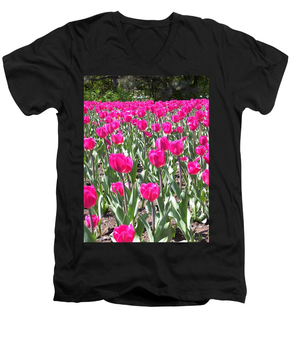 Charity Men's V-Neck T-Shirt featuring the photograph Tulips by Mary-Lee Sanders
