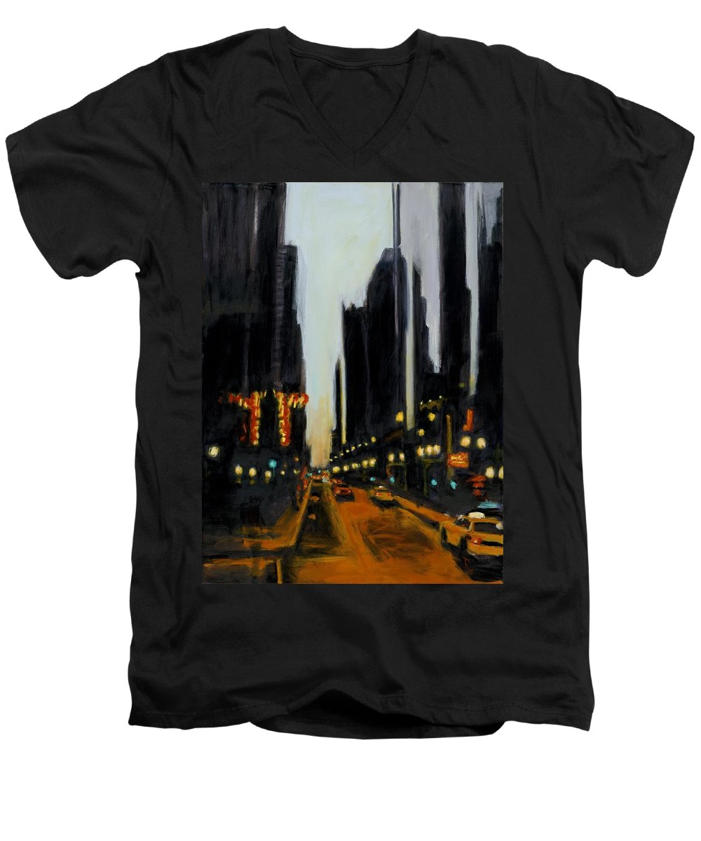 Rob Reeves Men's V-Neck T-Shirt featuring the painting Twilight In Chicago by Robert Reeves