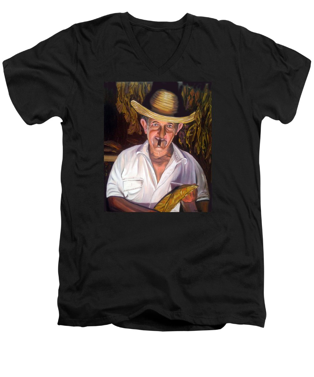 Cuban Art Men's V-Neck T-Shirt featuring the painting Uncle Frank by Jose Manuel Abraham