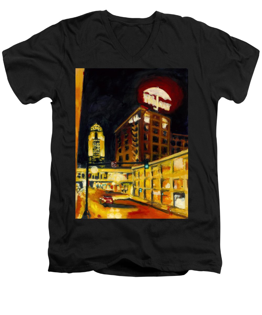 Rob Reeves Men's V-Neck T-Shirt featuring the painting Untitled In Red And Gold by Robert Reeves