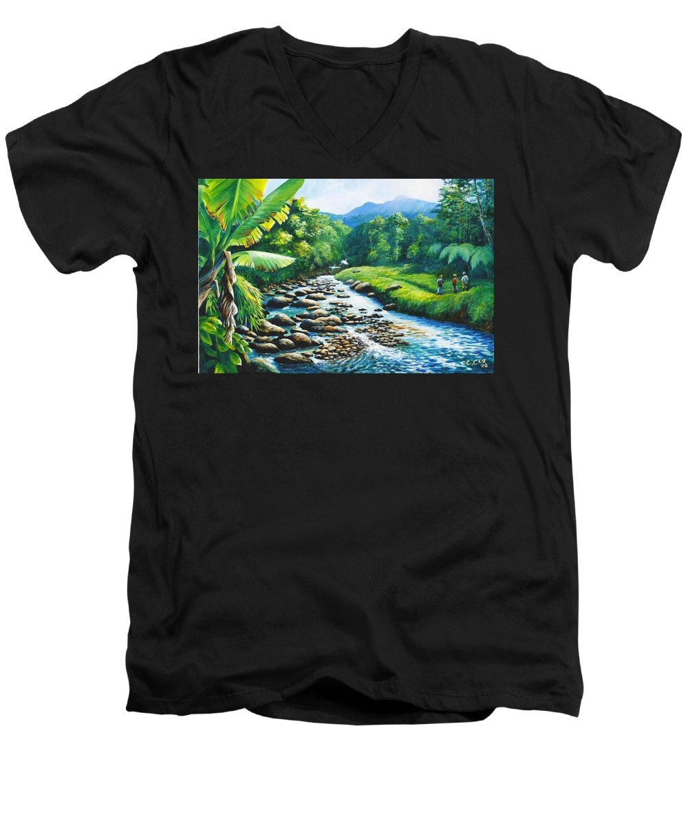 Chris Cox Men's V-Neck T-Shirt featuring the painting Upriver by Christopher Cox