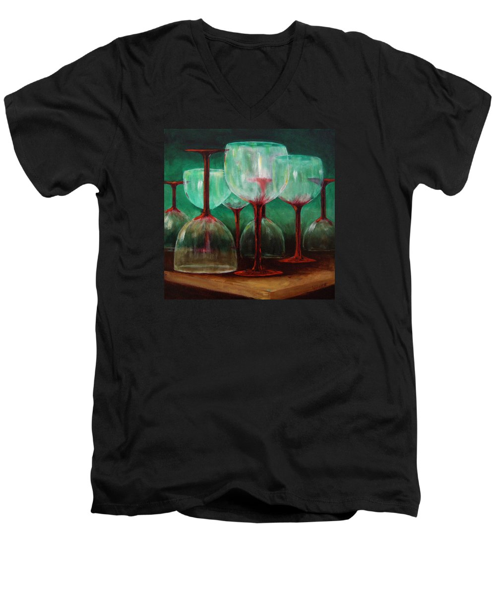 Oil Men's V-Neck T-Shirt featuring the painting Upsidedown by Linda Hiller