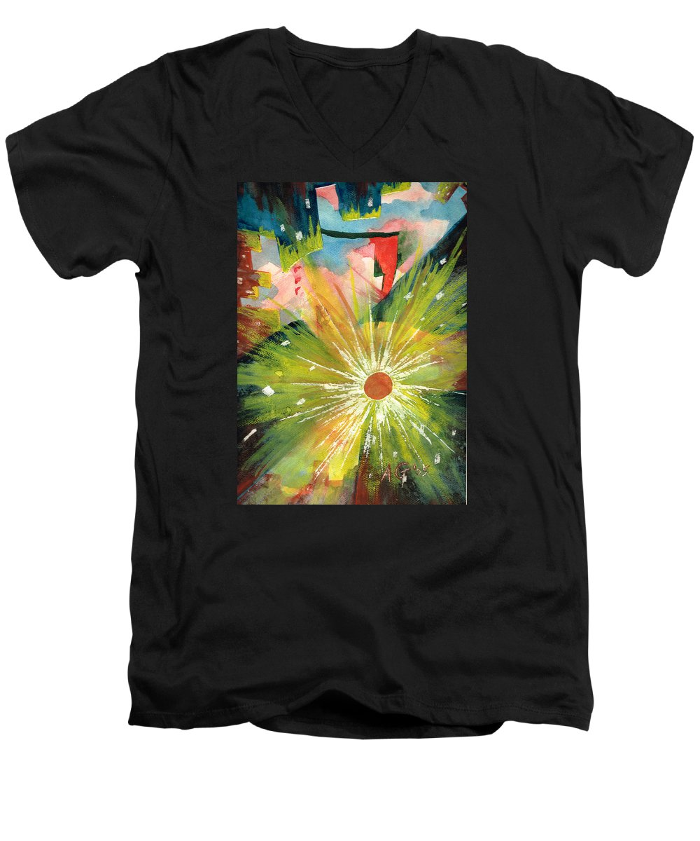 Downtown Men's V-Neck T-Shirt featuring the painting Urban Sunburst by Andrew Gillette