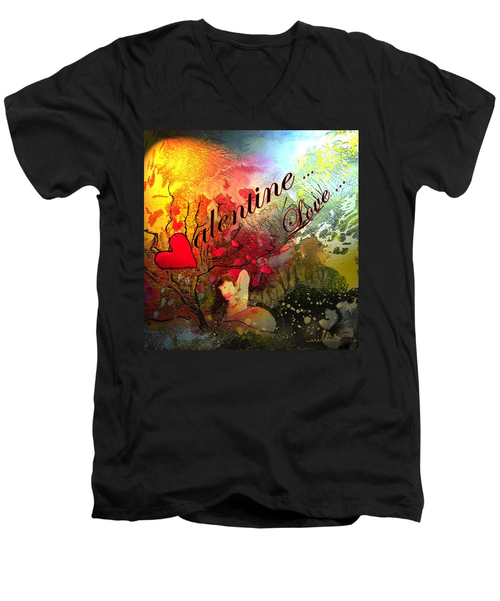 Valentine Men's V-Neck T-Shirt featuring the painting Valentine by Miki De Goodaboom