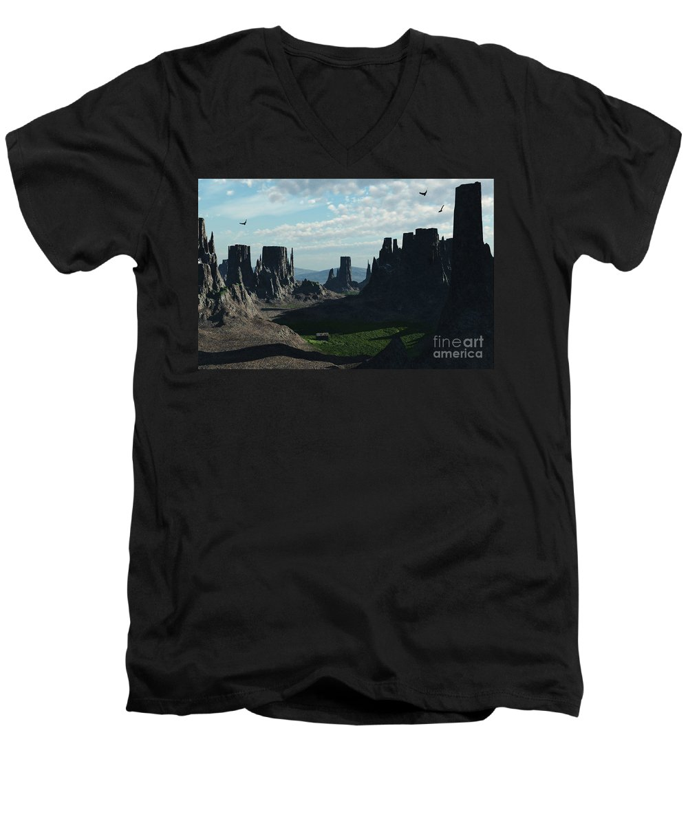Valley Men's V-Neck T-Shirt featuring the digital art Valley Of The Kings by Richard Rizzo