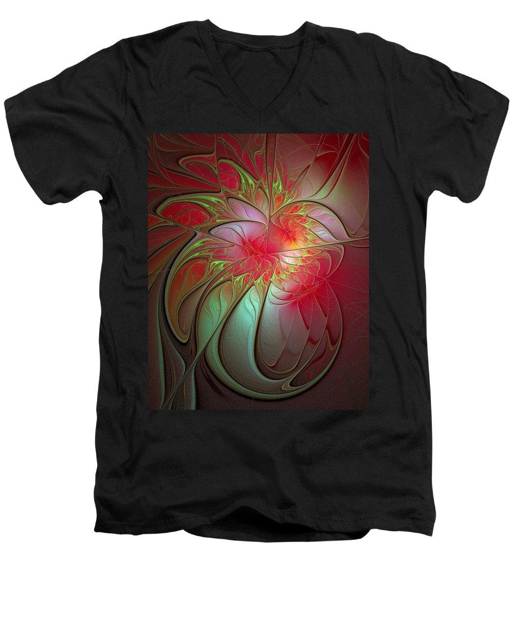 Digital Art Men's V-Neck T-Shirt featuring the digital art Vase Of Flowers by Amanda Moore