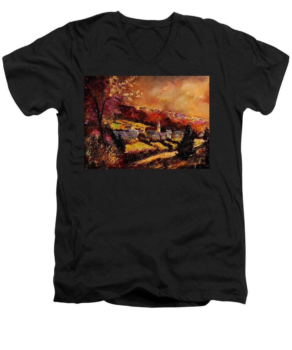 River Men's V-Neck T-Shirt featuring the painting Vencimont Village Ardennes by Pol Ledent