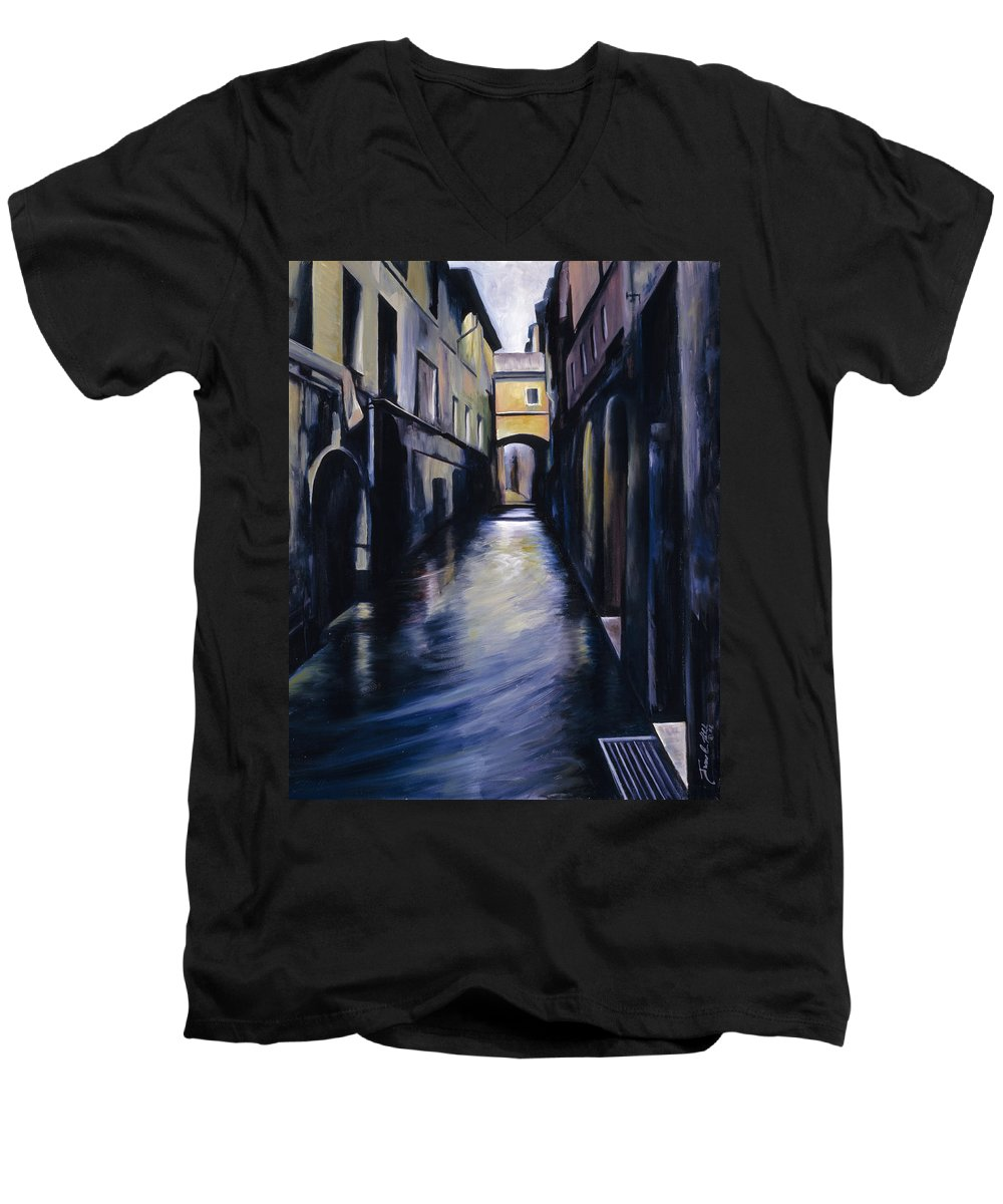 Street; Canal; Venice ; Desert; Abandoned; Delapidated; Lost; Highway; Route 66; Road; Vacancy; Run-down; Building; Old Signage; Nastalgia; Vintage; James Christopher Hill; Jameshillgallery.com; Foliage; Sky; Realism; Oils Men's V-Neck T-Shirt featuring the painting Venice by James Christopher Hill