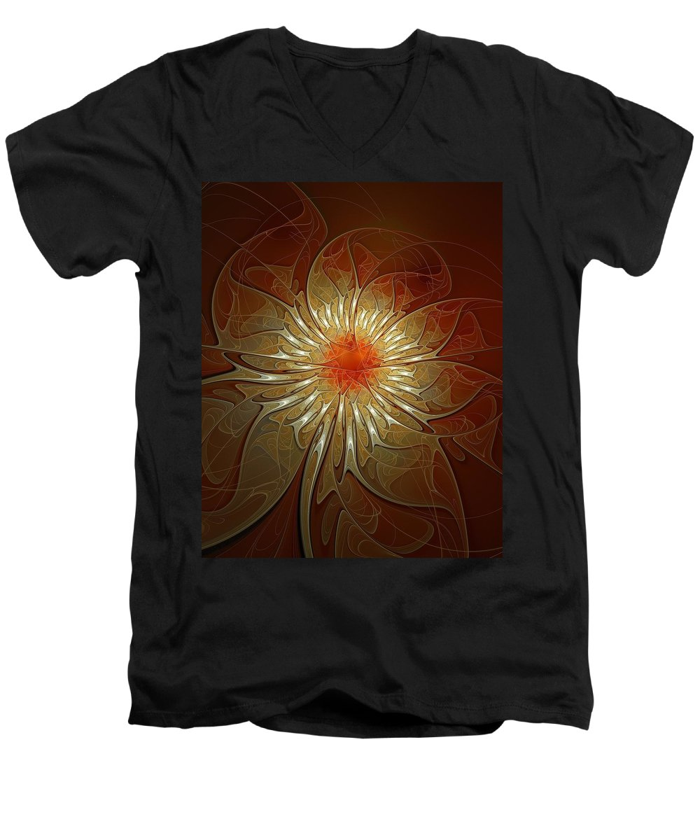 Digital Art Men's V-Neck T-Shirt featuring the digital art Vibrance by Amanda Moore