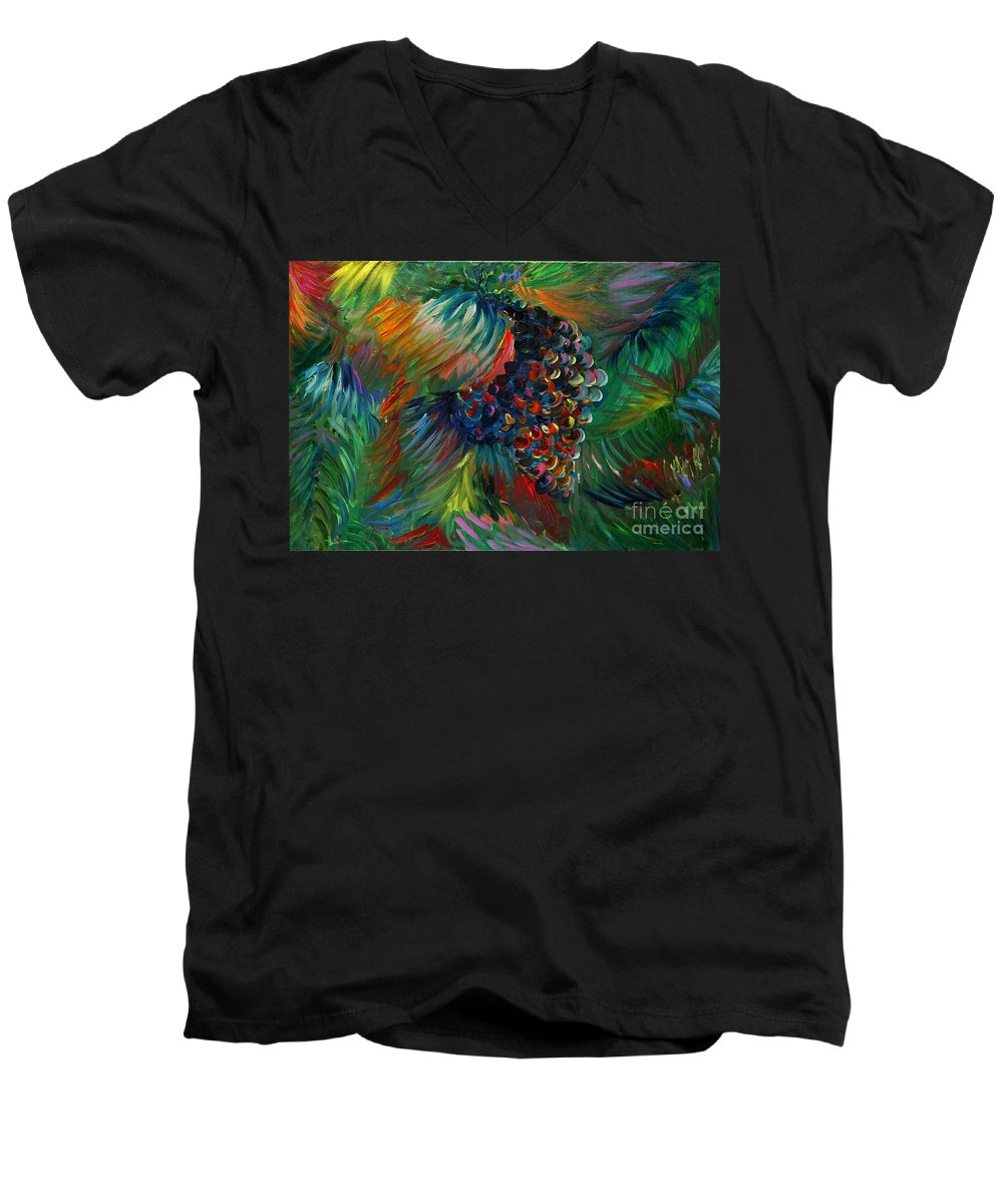 Grapes Men's V-Neck T-Shirt featuring the painting Vibrant Grapes by Nadine Rippelmeyer