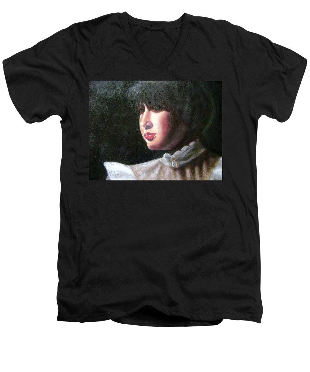 Girl In White Blouse Men's V-Neck T-Shirt featuring the painting Victorian Blouse by Toni Berry