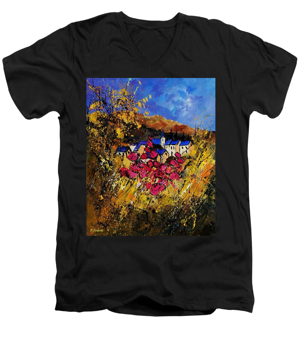 Flowers Men's V-Neck T-Shirt featuring the painting Village 450808 by Pol Ledent