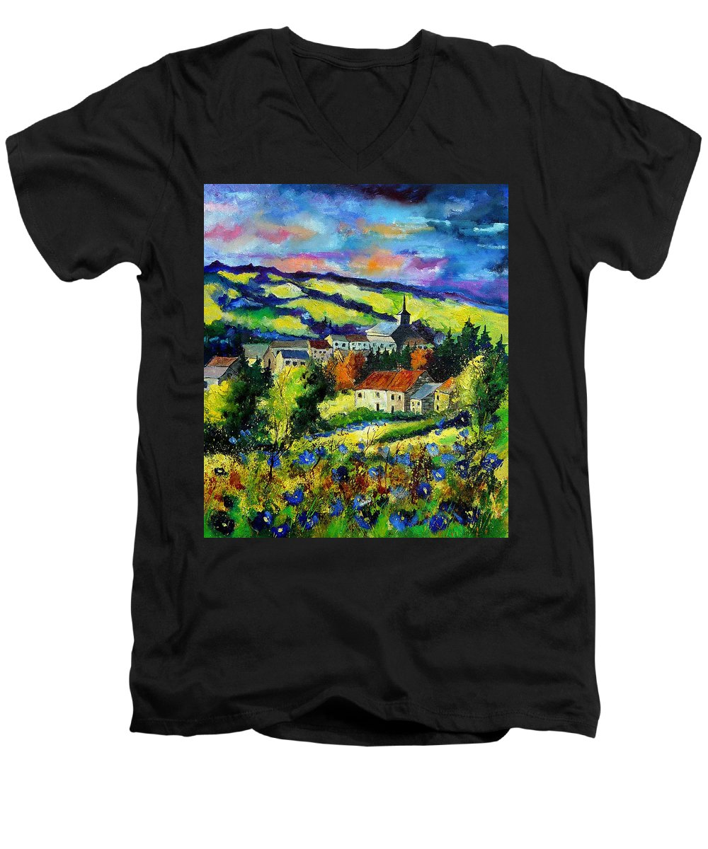 Landscape Men's V-Neck T-Shirt featuring the painting Village And Blue Poppies by Pol Ledent