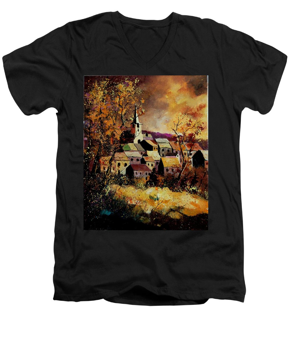 River Men's V-Neck T-Shirt featuring the painting Village In Fall by Pol Ledent