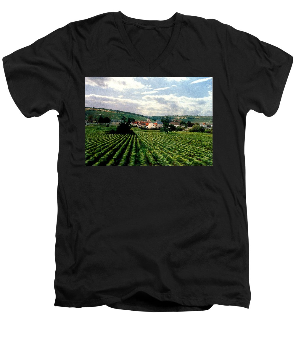 Vineyards Men's V-Neck T-Shirt featuring the photograph Village In The Vineyards Of France by Nancy Mueller