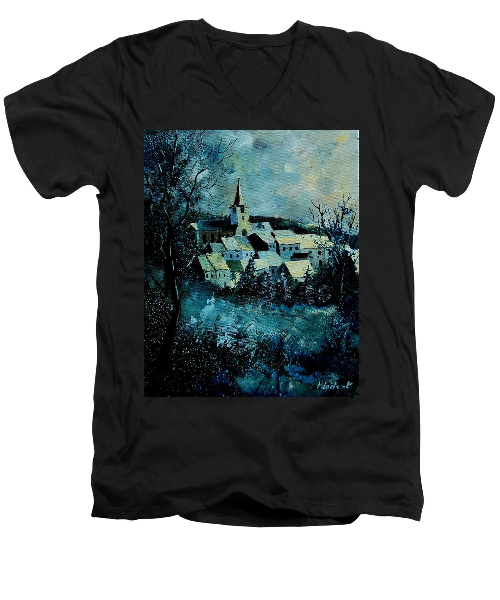River Men's V-Neck T-Shirt featuring the painting Village In Winter by Pol Ledent