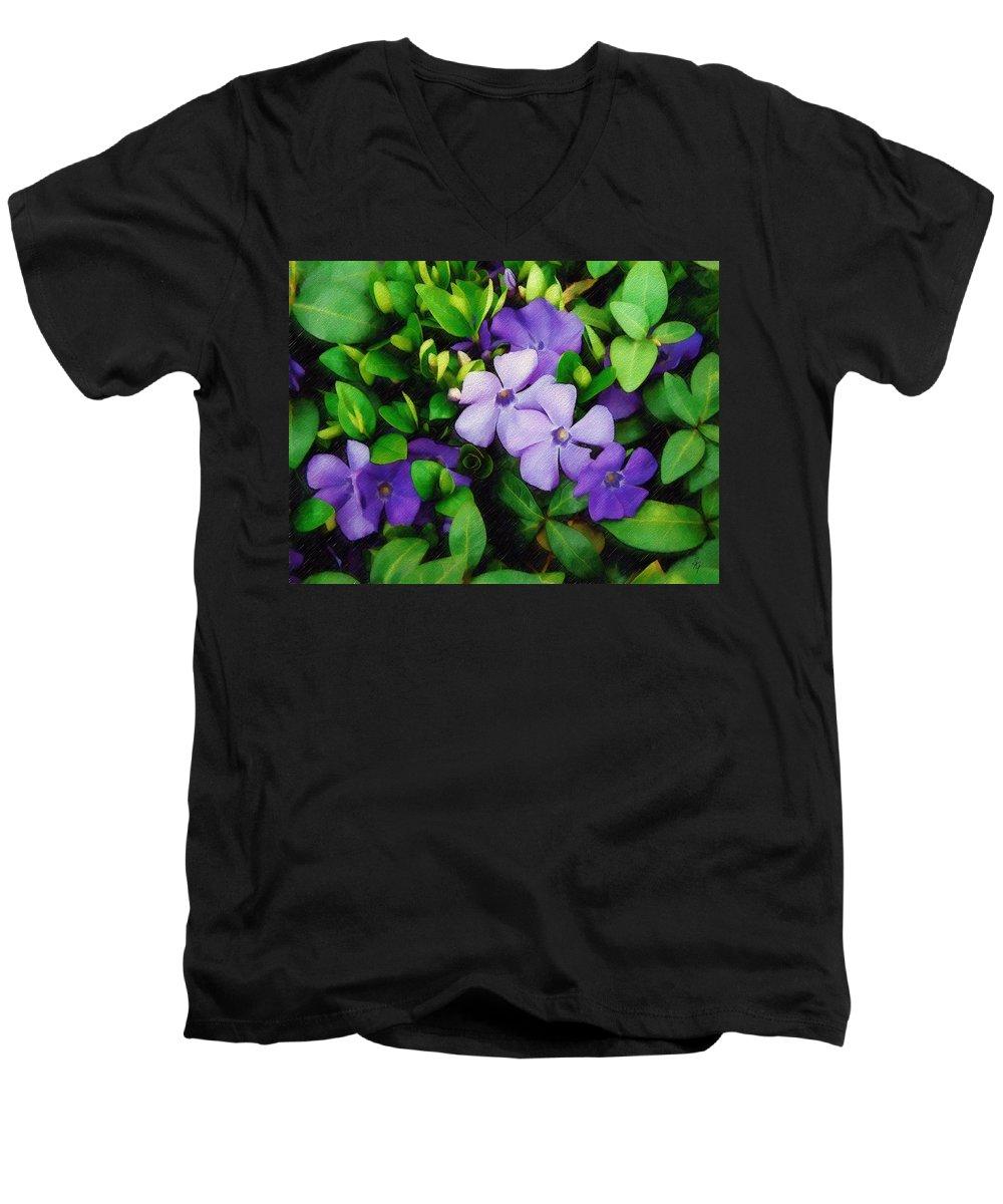 Vinca Men's V-Neck T-Shirt featuring the photograph Vinca by Sandy MacGowan