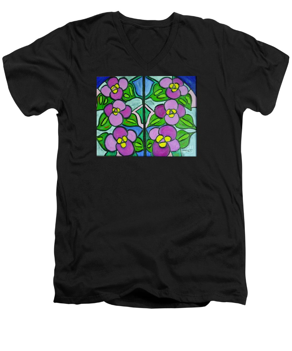 Violets Men's V-Neck T-Shirt featuring the painting Vintage Violets by Laurie Morgan