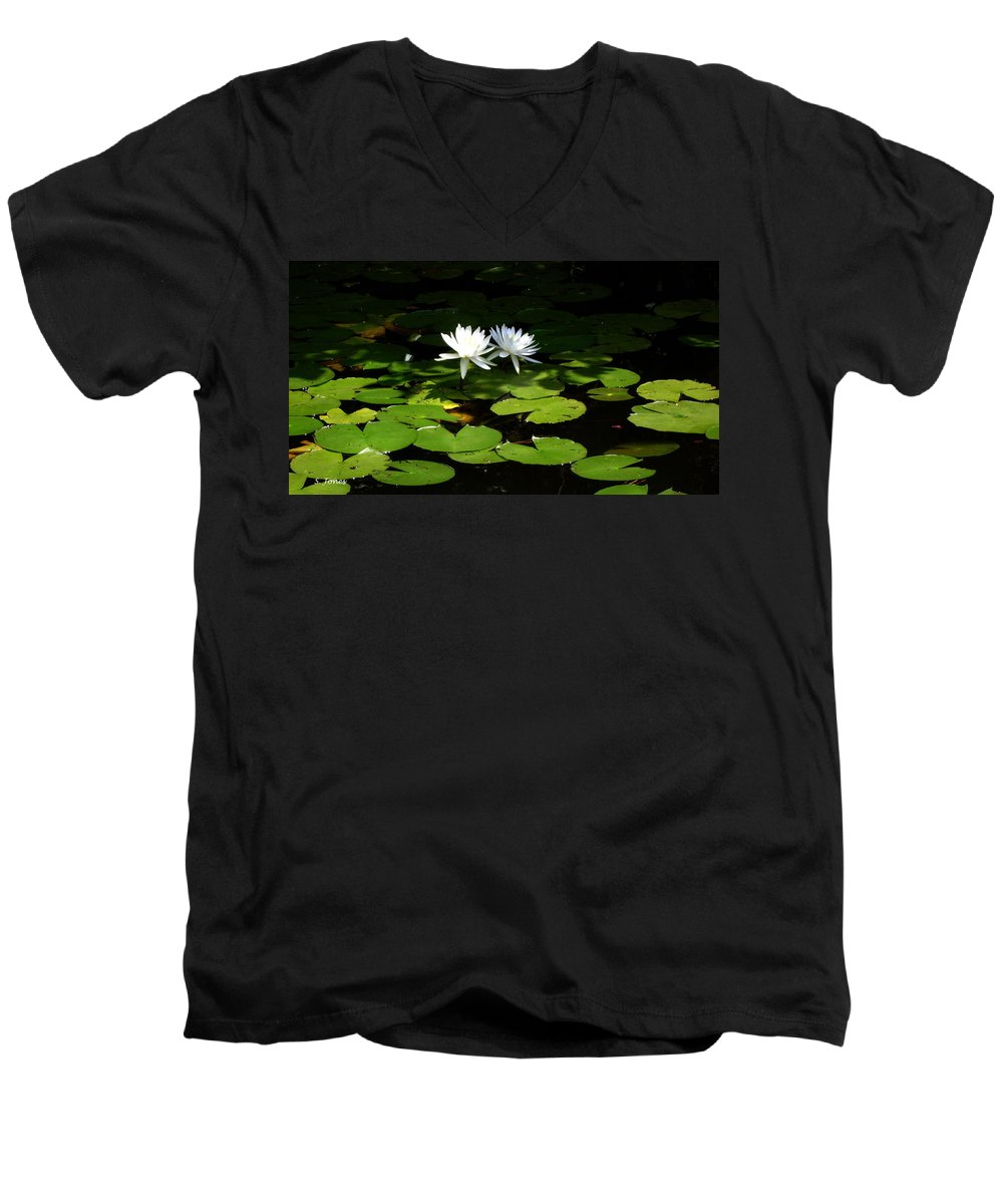 Water Men's V-Neck T-Shirt featuring the photograph Wading Fairies by Shelley Jones