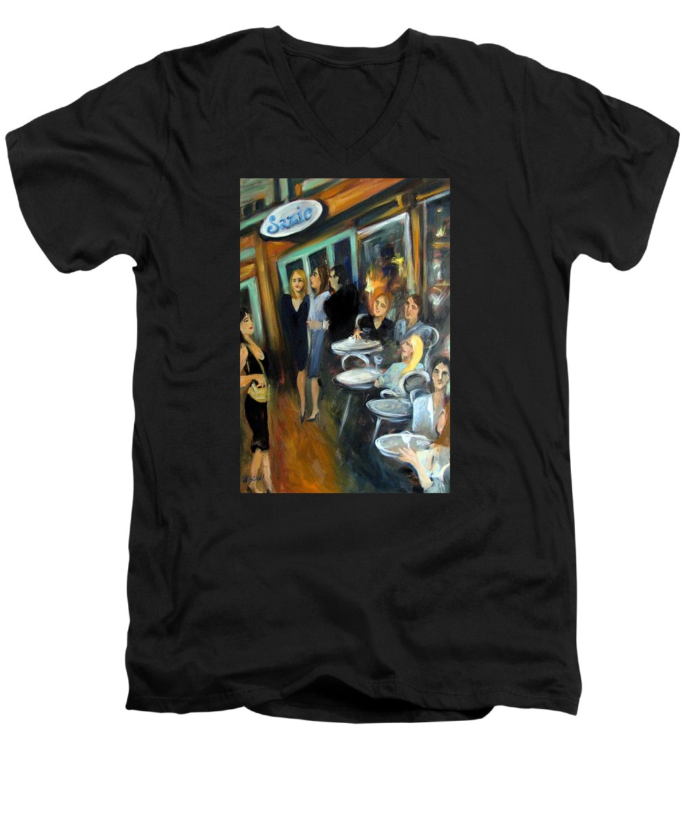 Sidewalk Cafe Men's V-Neck T-Shirt featuring the painting Waiting For A Table by Valerie Vescovi