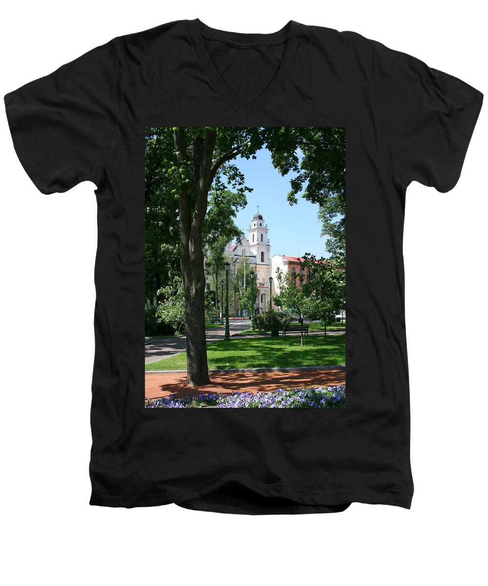 Park City Tree Trees Flowers Church Building Summer Blue Sky Green Walk Bench Men's V-Neck T-Shirt featuring the photograph Walk In The Park by Andrei Shliakhau