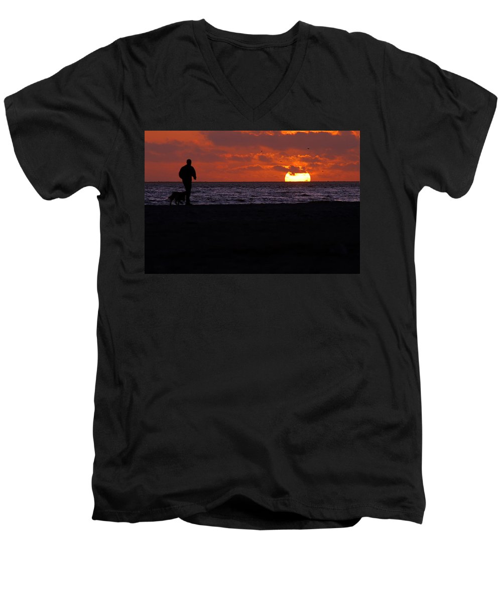 Clay Men's V-Neck T-Shirt featuring the photograph Walking The Dog by Clayton Bruster