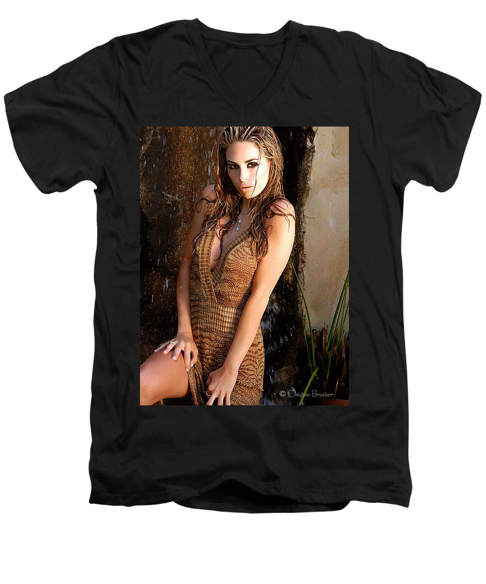 Clay Men's V-Neck T-Shirt featuring the photograph Water Fall Beauty by Clayton Bruster