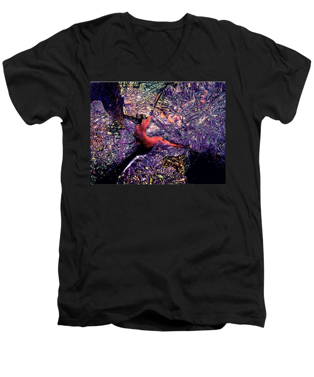 Water Men's V-Neck T-Shirt featuring the photograph Waterdrop Abstract by Nancy Mueller
