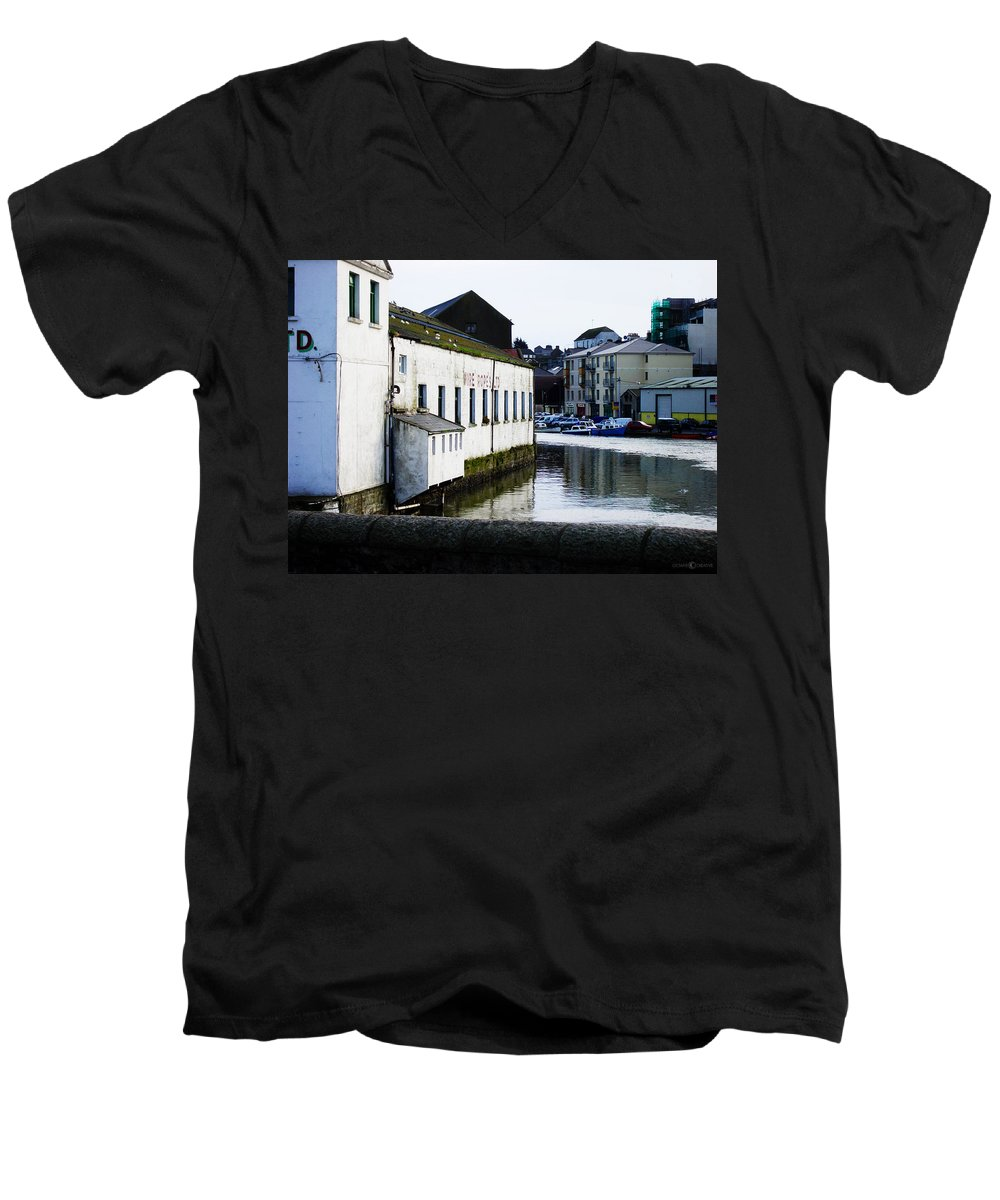 River Men's V-Neck T-Shirt featuring the photograph Waterfront Factory by Tim Nyberg