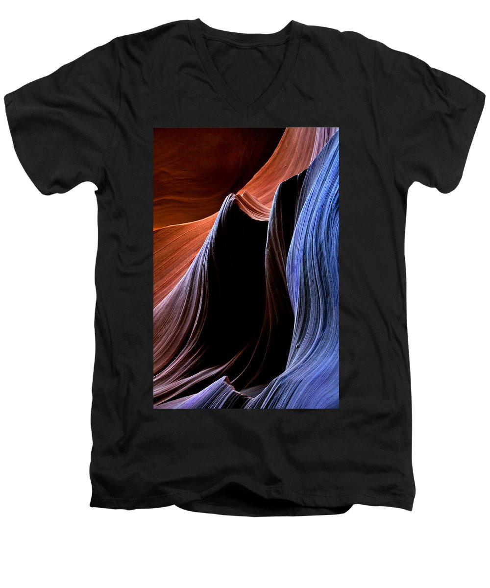 Sandstone Men's V-Neck T-Shirt featuring the photograph Waves by Mike Dawson