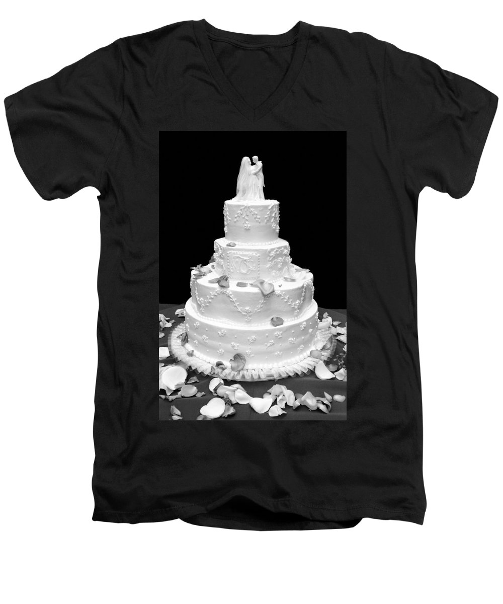 Wedding Men's V-Neck T-Shirt featuring the photograph Wedding Cake by Marilyn Hunt
