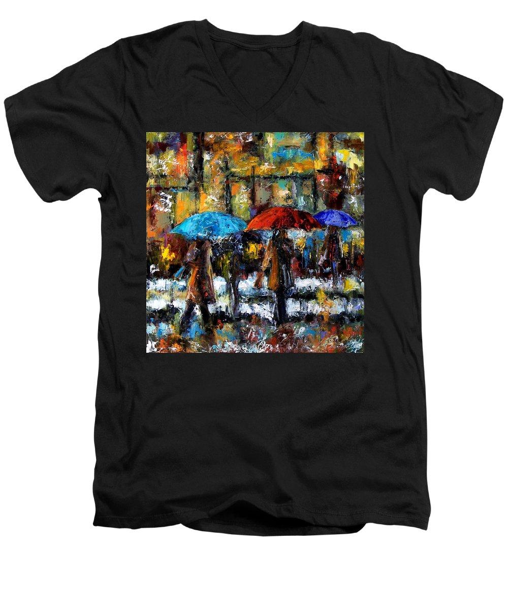 Rainy City Art Men's V-Neck T-Shirt featuring the painting Wet Winter Day by Debra Hurd