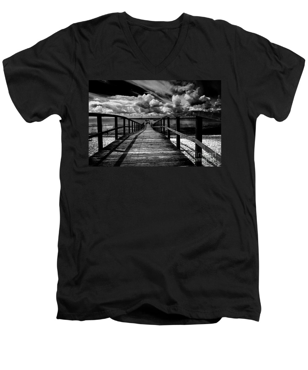 Southend On Sea Wharf Clouds Beach Sand Men's V-Neck T-Shirt featuring the photograph Wharf At Southend On Sea by Sheila Smart Fine Art Photography