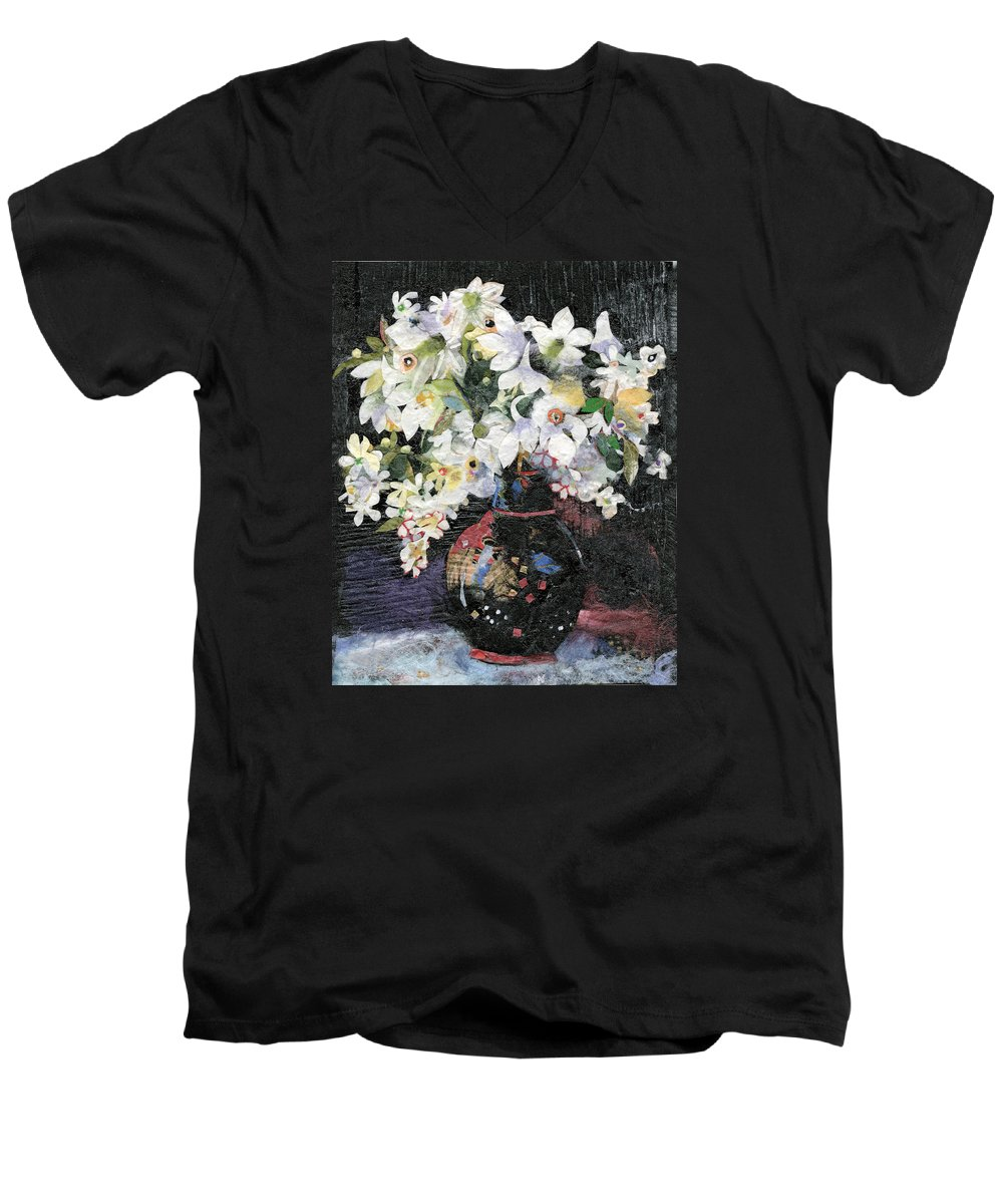 Limited Edition Prints Men's V-Neck T-Shirt featuring the painting White Celebration by Nira Schwartz