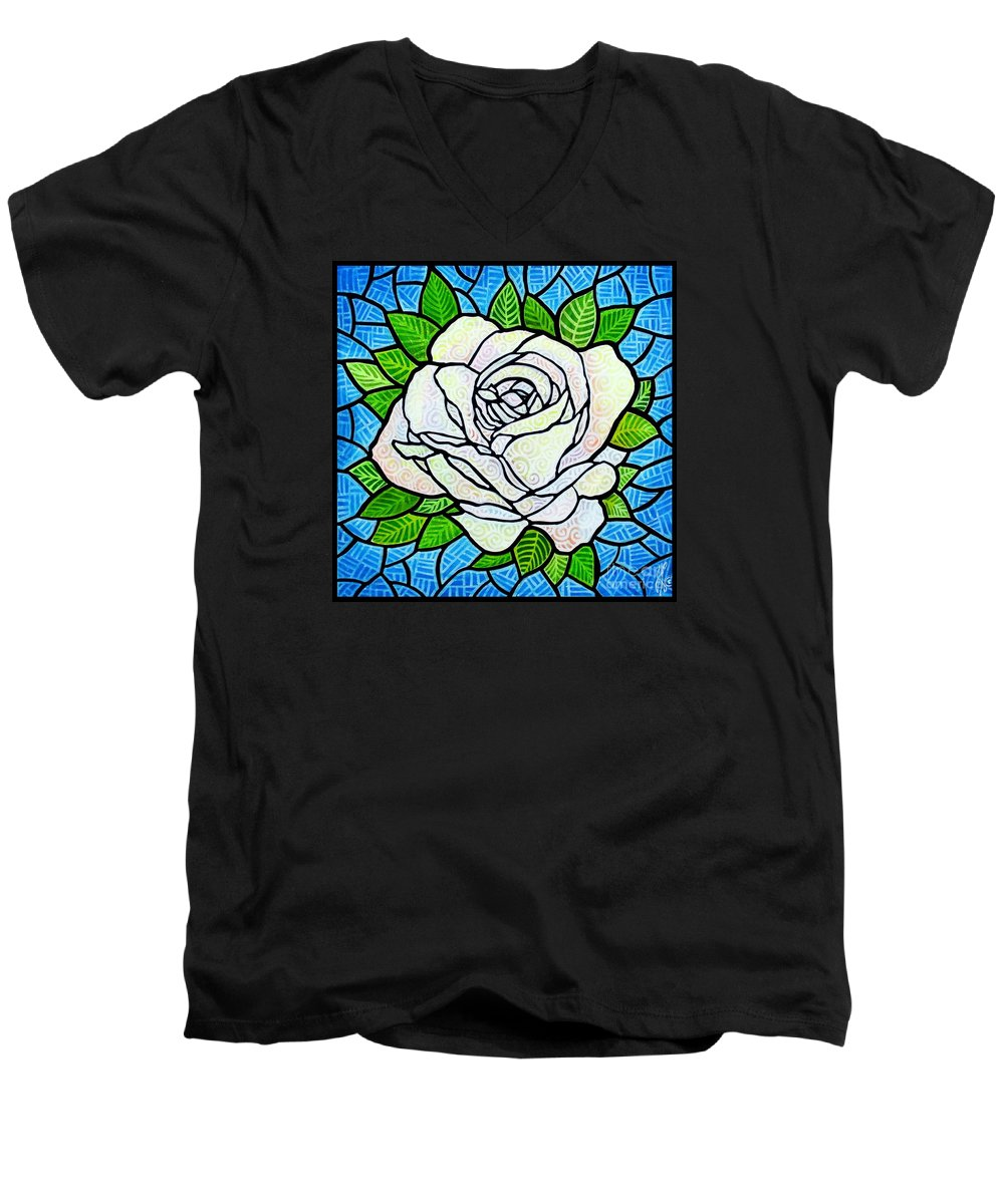 White Men's V-Neck T-Shirt featuring the painting White Rose by Jim Harris
