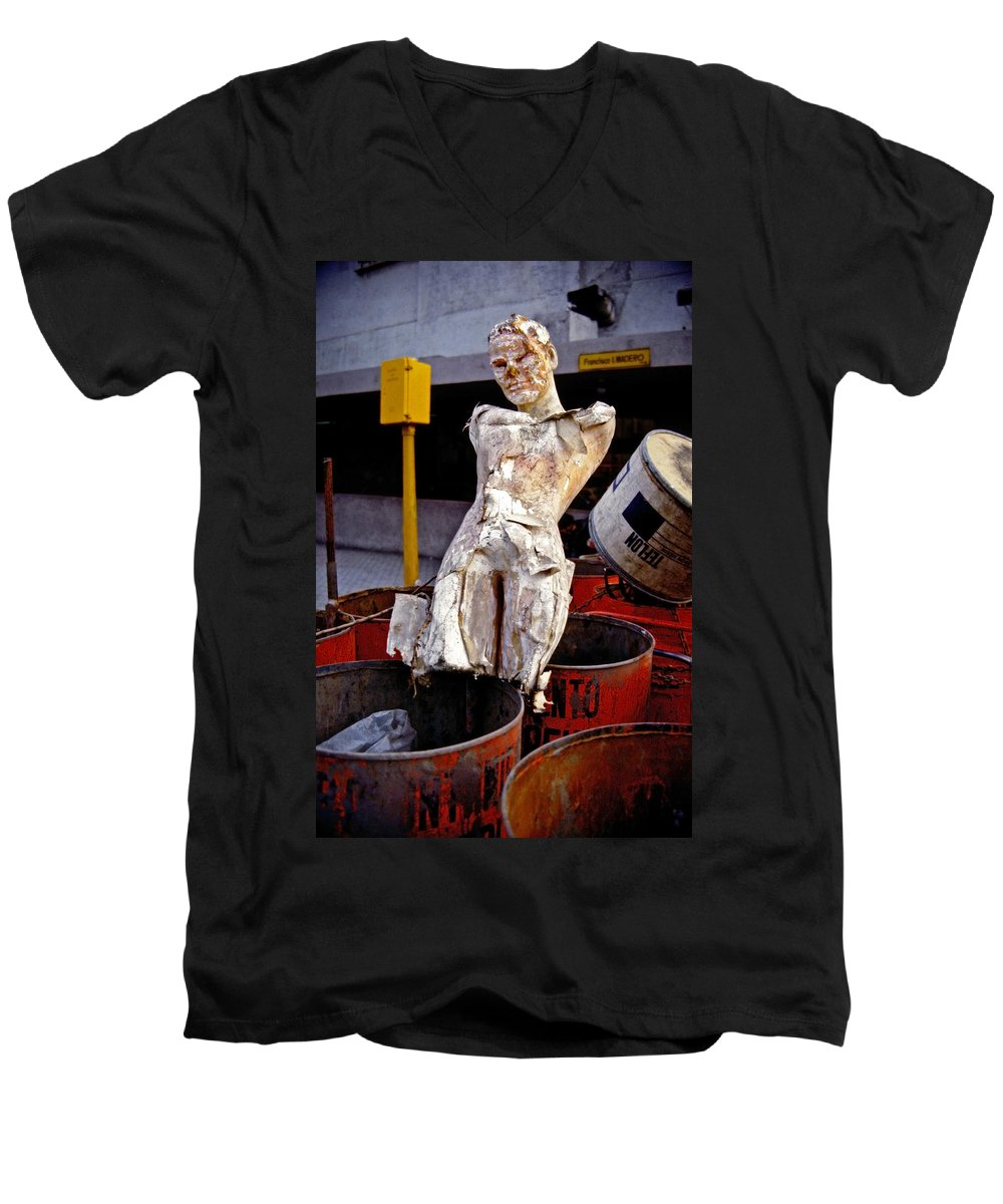 Trash Men's V-Neck T-Shirt featuring the photograph White Trash by Skip Hunt