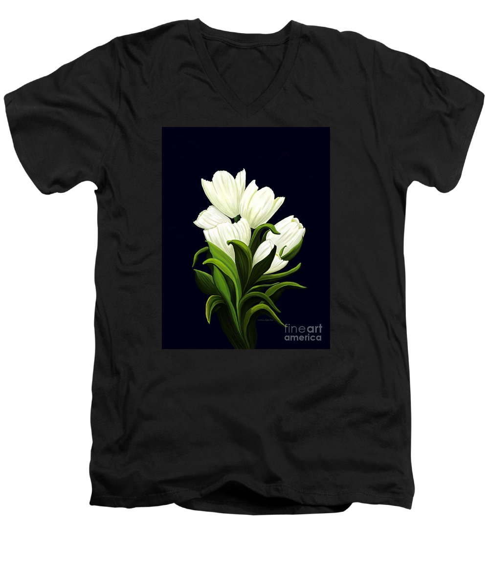 Mixed Media Men's V-Neck T-Shirt featuring the painting White Tulips by Patricia Griffin Brett