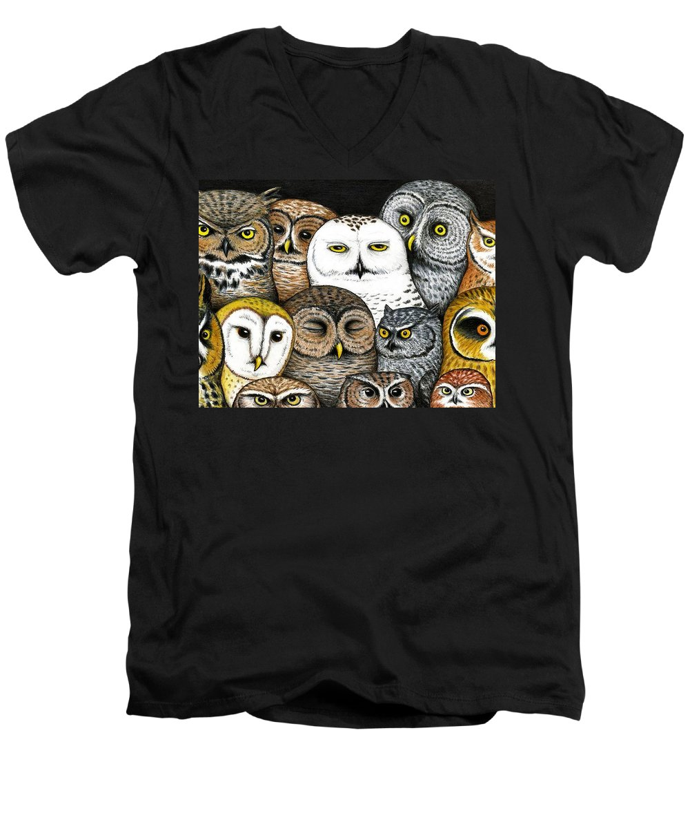 Art Men's V-Neck T-Shirt featuring the painting Who's Hoo by Don McMahon