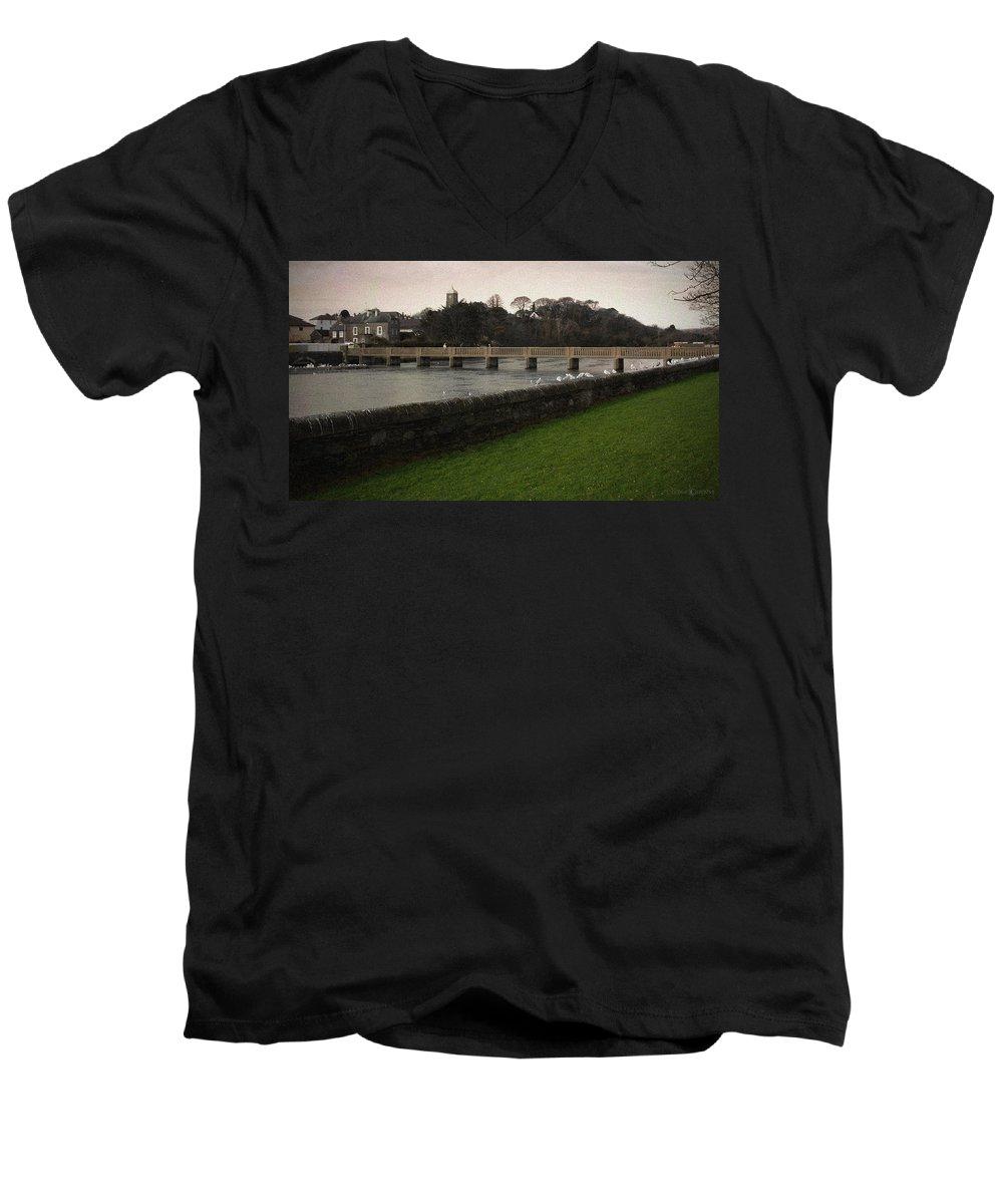 Footbridge Men's V-Neck T-Shirt featuring the photograph Wicklow Footbridge by Tim Nyberg