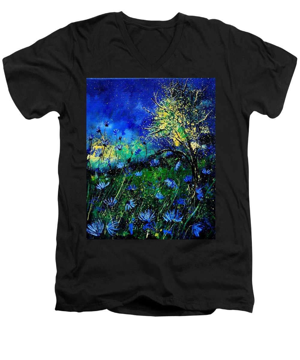 Poppies Men's V-Neck T-Shirt featuring the painting Wild Chocoree by Pol Ledent