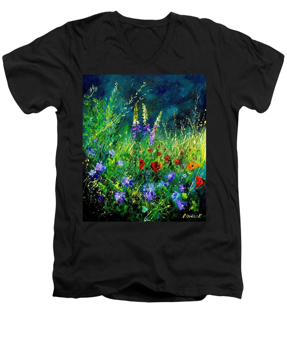 Poppies Men's V-Neck T-Shirt featuring the painting Wild Flowers by Pol Ledent