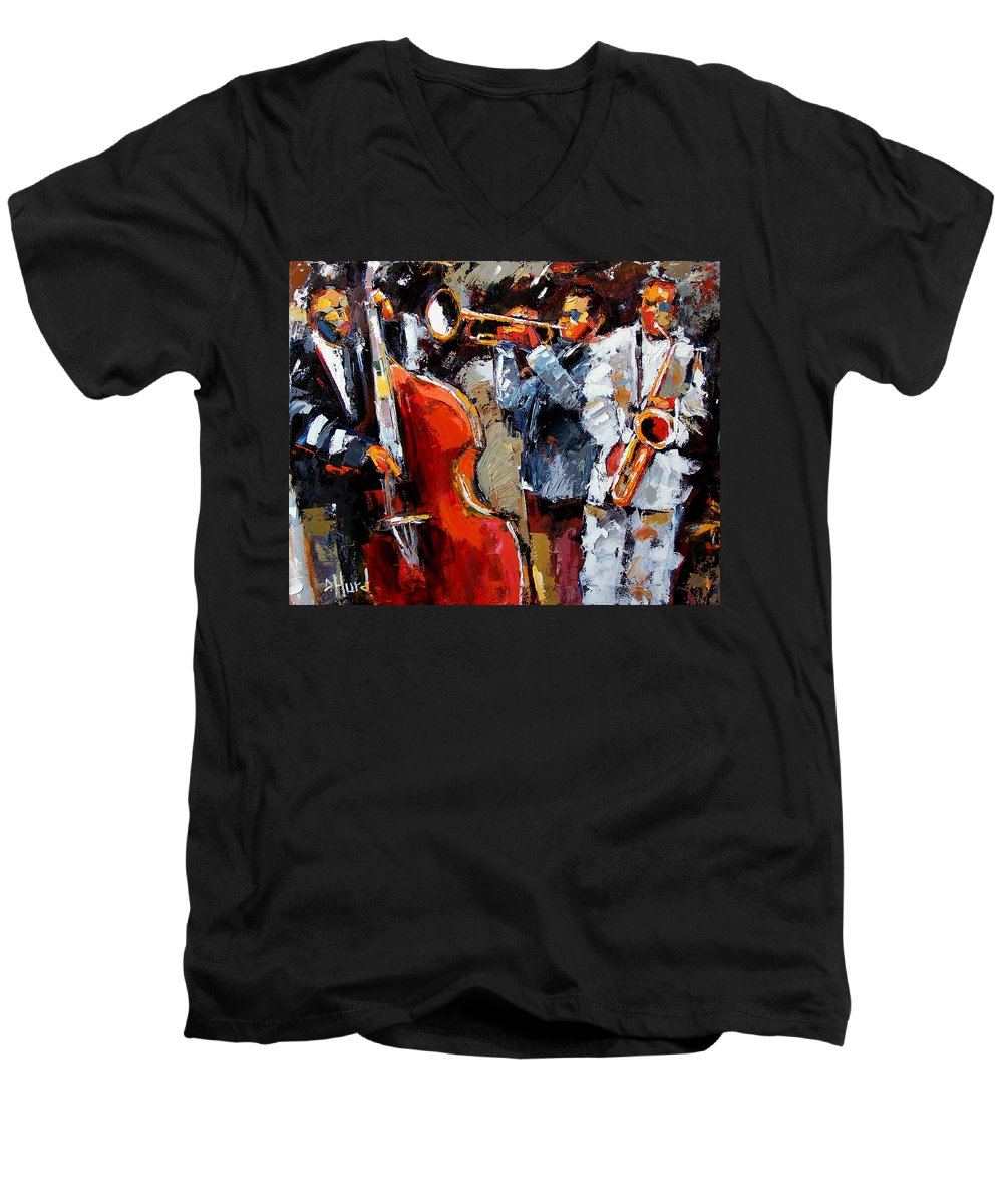 Jazz Men's V-Neck T-Shirt featuring the painting Wild Jazz by Debra Hurd