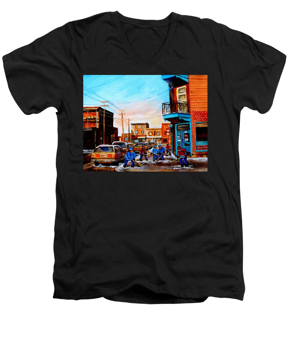 Hockey Men's V-Neck T-Shirt featuring the painting Wilensky's A Friendly Game Of Hockey by Carole Spandau