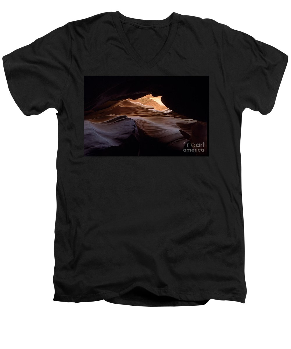 Antelope Canyon Men's V-Neck T-Shirt featuring the photograph Wind And Water by Kathy McClure